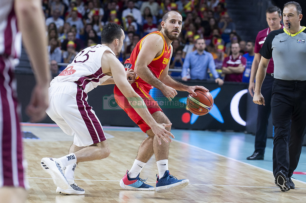 September 17, 2018 - Madrid, Spain - Joaquin Colom of Spain and Artis Ate of Latvia during the FIBA Basketball World Cup Qualifier match Spain against Latvia at Wizink Center in Madrid, Spain. September 17, 2018. (Credit Image: © Coolmedia/NurPhoto/ZUMA Press)