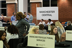 © Licensed to London News Pictures . 08/06/2017 . Manchester , UK . Counting area for Manchester Central . The count for the constituencies of Blackley and Broughton, Manchester Central, Manchester Gorton, Manchester Withington and Wythenshawe and Sale East, in the General Election, at the Manchester Central Convention Centre . Photo credit : Joel Goodman/LNP