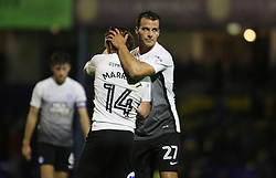 Steven Taylor of Peterborough United congratulates goal scorer Jack Marriott at full-time - Mandatory by-line: Joe Dent/JMP - 17/10/2017 - FOOTBALL - Roots Hall - Southend-on-Sea, England - Southend United v Peterborough United - Sky Bet League Two