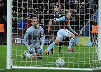 Football - 2019 / 2020 EFL Carabao (League) Cup - Semi-Final, Second Leg: Aston Villa (1) vs. Leicester City (1)<br /> <br /> Matt Targett of Villa  shoots past goalkeeper, Kasper Schmeichel for his first half goal, at Villa Park.<br /> <br /> COLORSPORT/ANDREW COWIE