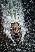 Tug boat from above in Cape Town Port