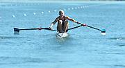 Varese,  ITALY. 2012 FISA European Championships, Lake Varese Regatta Course. ..EST W1X Kaisa PAJUSALU,  at the start for her heat of the Women's Single Sculls...13:14:15  Friday  14/09/2012 .....[Mandatory Credit Peter Spurrier:  Intersport Images]  ..2012 European Rowing Championships Rowing, European,  2012 010794.jpg.....