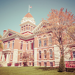 Old Lake County Courthouse Retro Photo in Crown Point, Indana, The Lake County Courthouse was built in 1878 and is nicknamed The Grand Old Lady. The courthouse architecture is Romanesque and Georgian. Today it's used for events and has a ballroom and restaurants.