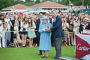 FRANCOIS LE TROQUER; THE QUEEN; ARNAUD BAMBERGER Cartier Queen's Cup. Guards Polo Club, Windsor Great Park. 17 June 2012