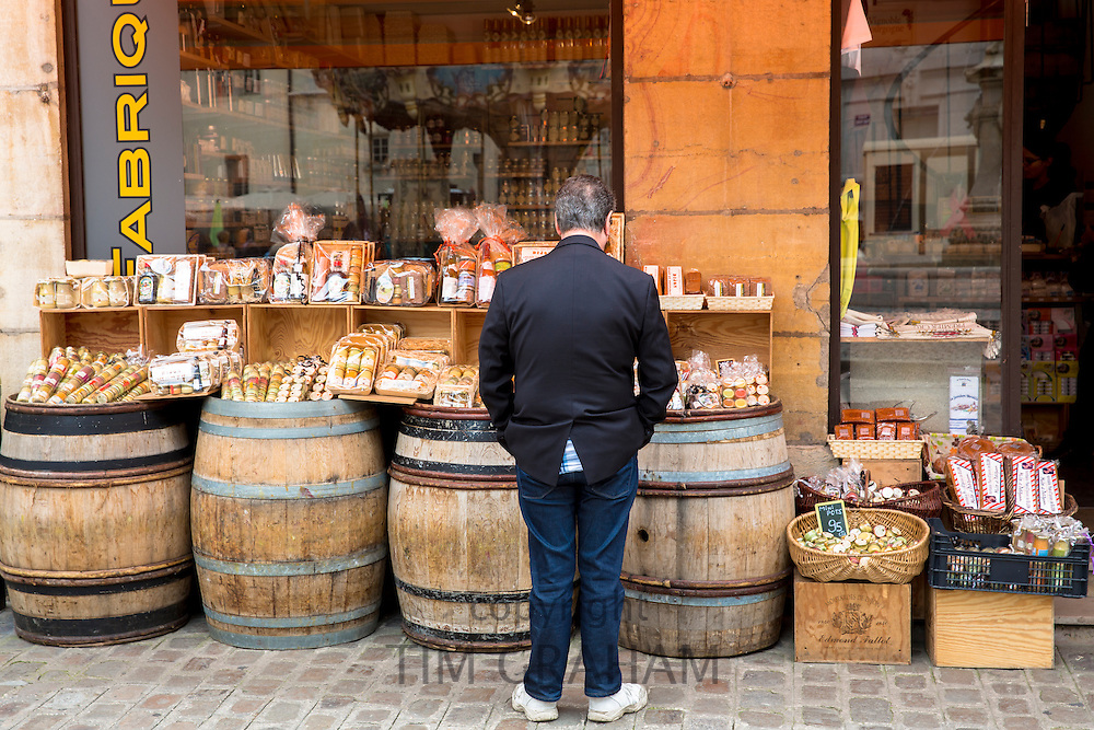 Dijon mustard and speciality food for sale in La Fabrique Bouchons shop in old town in Dijon, Burgundy region, France