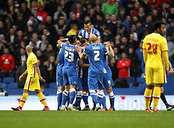 Brighton & Hove Albion celebrate a goal scored by Solly March of Brighton & Hove Albion - Mandatory byline: Robbie Stephenson/JMP - 07966 386802 - 07/11/2015 - FOOTBALL - Falmer Stadium - Brighton, England - Brighton v MK Dons - Sky Bet Championship