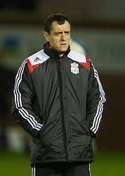 WARRINGTON, ENGLAND - Tuesday, February 26, 2008: Liverpool's Angel Vales Reserve Coach and Head of Technical Analysis during the FA Premiership Reserves League (Northern Division) match against Manchester United at the Halliwell Jones Stadium. (Photo by David Rawcliffe/Propaganda)