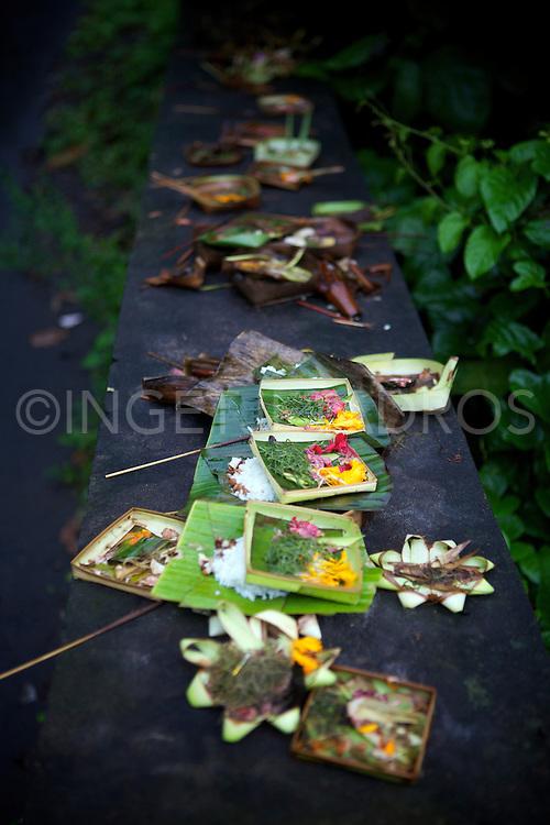Little offerings on a bridge in Ubud. &copy;Ingetje Tadros<br /> www.ingetjetadros.com
