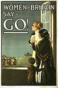 World War I 1914-1918: British recruitment poster with legend 'Women of Britain say - GO!' Showing a mother, daughter and son watching through an open window as soldiers march away.