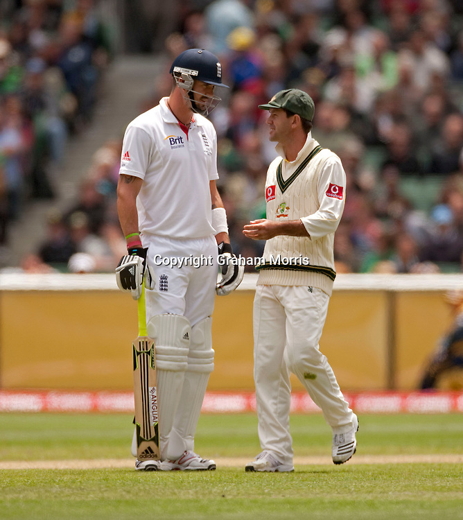 Captain Ricky Ponting has words with Kevin Pietersen after he's not caught off Ryan Harris during the fourth Ashes test match between Australia and England at the MCG in Melbourne, Australia. Photo: Graham Morris (Tel: +44(0)20 8969 4192 Email: sales@cricketpix.com) 27/12/10