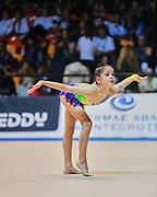 Sofia Raffaeli atleta della società Ginnastica Fabriano durante la seconda prova del Campionato Italiano di Ginnastica Ritmica.<br /> La gara si è svolta a Desio il 31 ottobre 2015.