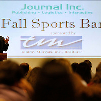 Thomas Wells | Buy at PHOTOS.DJOURNAL.COM<br /> Mississippi State Head Coach Dan Mullen delivered the keynote address during Thursday's 2016 Fall Sports Banquet at Wesley Chapel in Tupelo.