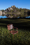 SD00065-00...SOUTH DAKOTA - Chair at Sylvan Lake in Custer State Park.