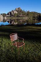 SD00065-00...SOUTH DAKOTA - Chair at Sylvan Lake in Custer State Park.