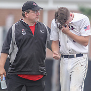Caravel Academy Pitcher Joseph Silan (6) seen walking off the field in pain after taking hit to the elbow in the mist of the second round of the DIAA baseball state tournament between #4 Caravel Academy and #15 St. Elizabeth Saturday May 27, 2017, at Caravel Academy in Bear Delaware.