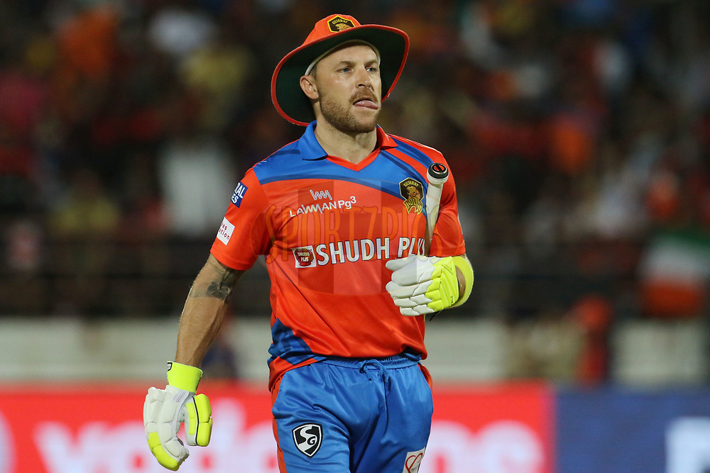 Brendon McCullum of the Gujarat Lions walks back to the pavilion after getting out during match 20 of the Vivo 2017 Indian Premier League between the Gujarat Lions and the Royal Challengers Bangalore  held at the Saurashtra Cricket Association Stadium in Rajkot, India on the 18th April 2017<br /> <br /> Photo by Vipin Pawar - Sportzpics - IPL