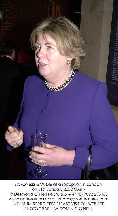 BARONESS GOUDIE at a reception in London on 31st January 2002.<br />
