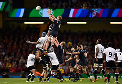 Bradley Davies of Wales wins the ball at a lineout - Mandatory byline: Patrick Khachfe/JMP - 07966 386802 - 01/10/2015 - RUGBY UNION - Millennium Stadium - Cardiff, Wales - Wales v Fiji - Rugby World Cup 2015 Pool A.