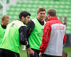MELBOURNE, AUSTRALIA - Monday, July 22, 2013: Liverpool's Luis Suarez and captain Steven Gerrard during a training session at Aami Park ahead of their preseason friendly against Melbourne Victory. (Pic by David Rawcliffe/Propaganda)