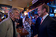 MANHATTAN (July 19, 2016) -- Goldman Sachs Managing Director of Investment Banking Division, Todd Haskins meets American film & television icon Tom Skerritt who's spending time with U.S. military service veterans that are members of the group Veterans of Wall Street (VOWS), at Foley's Irish Pub in downtown Manhattan.  As a special guest of the Bob Woodruff Foundation, Skerritt talked about his program The Red Badge Project, a storytelling workshop designed to support veterans suffering from post traumatic stress and traumatic brain injury.  Photo by Johnny Bivera