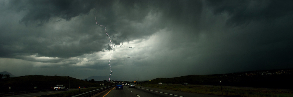 Driving through a thunderstorm on Interstate 25 near Colorado Sproings, Colorado during the summer.