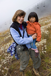 United States, Washington, Crystal Mountain, mother and daughter (age 2) MR