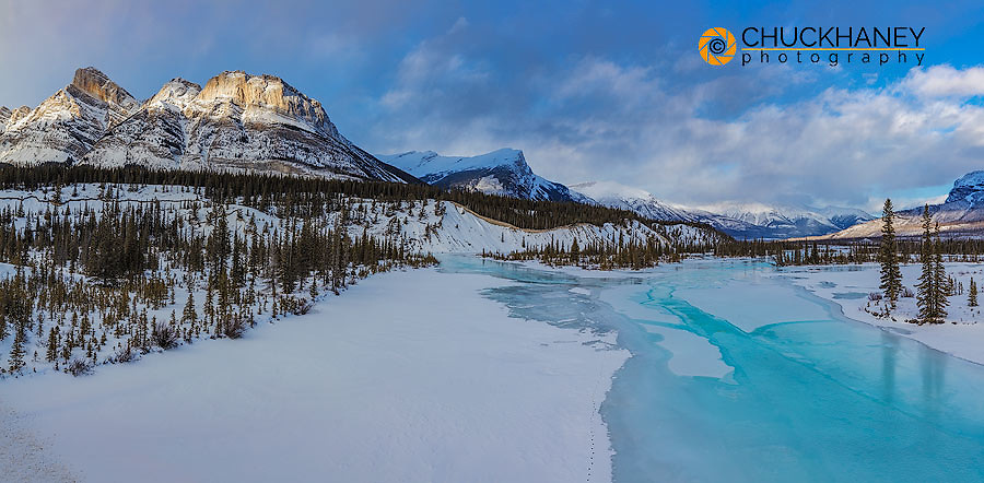 Panoramic of Winter along the North Saskatchewan River in Banff National Park, Alberta, Canada