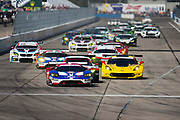 March 16-18, 2017: Mobil 1 12 Hours of Sebring. Start of the Mobil 1 12 hours of Sebring GTLM and GTD field with the 66 Ford Chip Ganassi Racing, Ford GT leading