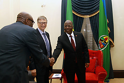 August 10, 2017 - Dar Es Salaam, Dar es Salaam, Tanzania - Bill Gates, American business magnate and philanthropist, observes as president John Magufuli greets Dr. Ayo Ajayi, Africa Director with the Bill and Melinda Gates Foundation, during their visit to the Presidental State House. Gates applauds president Magufuli's commitment to poverty reduction in Tanzania and pledges his foundation's continued support.  Tanzania is one of 45 African countries in which the Bill and Melinda Gates Foundation plans to invest  billion by 2021. (Credit Image: © Ric Francis via ZUMA Wire)