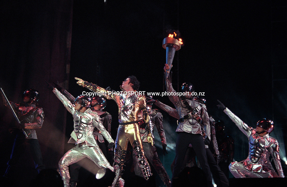 Michael Jackson performing during his november 1996 concert at Mt Smart Stadium, Auckland. Photo: PHOTOSPORT