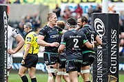 Ospreys second row Tyler Ardron celebrates scoring his teams second try during the Guinness Pro 12 2017 Round 21 match between Ospreys and Ulster at the Liberty Stadium, Swansea, Wales on 29 April 2017. Photo by Andrew Lewis.