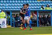 Carlisle United Forward Alex Gilliead  and Portsmouth FC Defender Enda Stevens collide during the Sky Bet League 2 match between Carlisle United and Portsmouth at Brunton Park, Carlisle, England on 21 November 2015. Photo by Craig McAllister.
