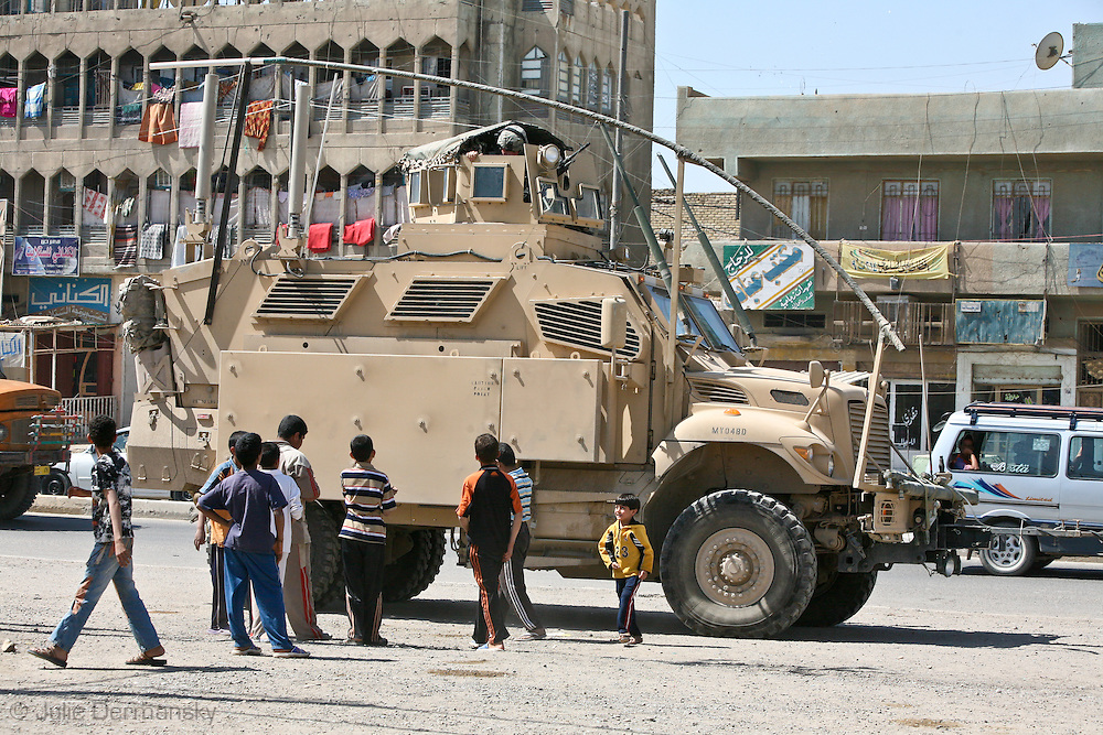 Louisina National Guard in Baghdad partolling the streets in an MRAP.