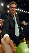11-7--06 LOS ANGELES CA- Arnold Schwarzenegger celebrates his re-election as Governor of the State of California by shakking hands with the crowd at the Beverly Hilton..photo by John McCoy/staff photograper LA Daily News
