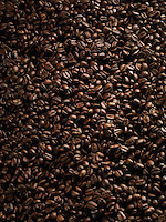 Coffee beans closeup background texture