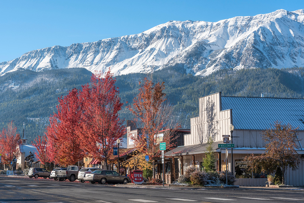 Downtown Joseph, Oregon in autumn.