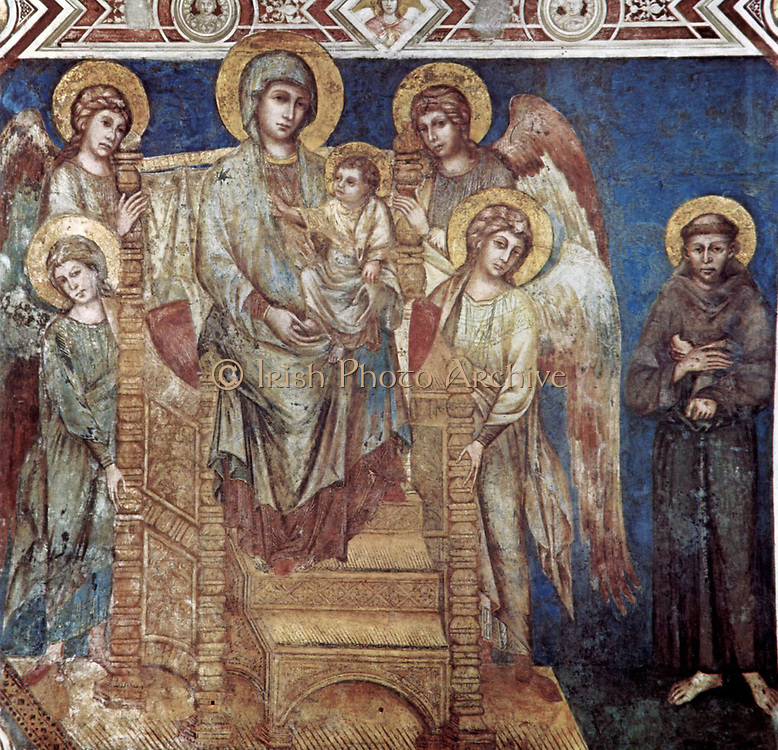 Madonna Enthroned with the Child, St Francis and Four Angels, in the Church of San Francesco in Assisi, Italy. Painted by Cenni di Pepo (Giovanni) Cimabue (c. 1240 — c. 1302)  Italian painter