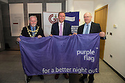 Galway City celebrates purple flag status...<br /> Galway City Council hosted a mayoral reception to celebrate Galway's designation as a Purple Flag City. The city was awarded Purple Flag status earlier this year, following a rigorous application process, in recognition of its safe, vibrant and well-managed town centre in the evening and at night.<br /> Purple Flag is an international accreditation scheme for town and city centres. It is run through the Association of Town and City Management (ATCM) and is the &ldquo;gold standard&rdquo; for night time destinations. A judging panel visited the city last December and, over a 12 hour period from 5 pm &ndash; 5 am, assessed the city using 30 different criteria, including safety, appropriate transport, available services, use of public spaces and vibrant appeal. A comprehensive application form was also submitted. Galway City passed all 30 criteria of the accreditation procedure with commendations. In particular, the city was praised was praised for strong evidence of leadership and business engagement. Mayor of Galway Cllr. Donal Lyons with Cian O'Broin Hotel Meyrick  and Brendan McGrath - Chief Executive of Galway City Council <br />  Photo:Andrew Downes, XPOSURE