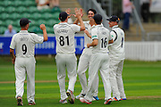 Chris Wright of Warwickshire celebrates taking the wicket of Tom Abell of Somerset during the Specsavers County Champ Div 1 match between Somerset County Cricket Club and Warwickshire County Cricket Club at the Cooper Associates County Ground, Taunton, United Kingdom on 6 September 2016. Photo by Graham Hunt.