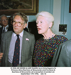 LT. COL.SIR SIMON & LADY BLAND, he is Extra Equerry to Princess Alice Duchess of Gloucester and the Duke & Duchess of Gloucester, at a reception in London on September 17th 1996.   LSA 15