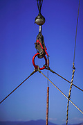 Cables, hooks, rings and a pulley on a Ferryboat Photographed in the Ionian Sea, Greece