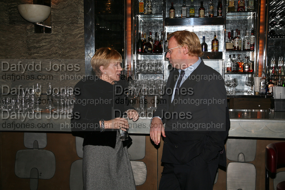 Anne Robinson and David Collins, A A Gill party to celebrate the  publication of Table Talk, a collection of his reviews. Hosted by Marco Pierre White at <br />Luciano, 72 St James's Street, London,. 22 October 2007, -DO NOT ARCHIVE-© Copyright Photograph by Dafydd Jones. 248 Clapham Rd. London SW9 0PZ. Tel 0207 820 0771. www.dafjones.com.