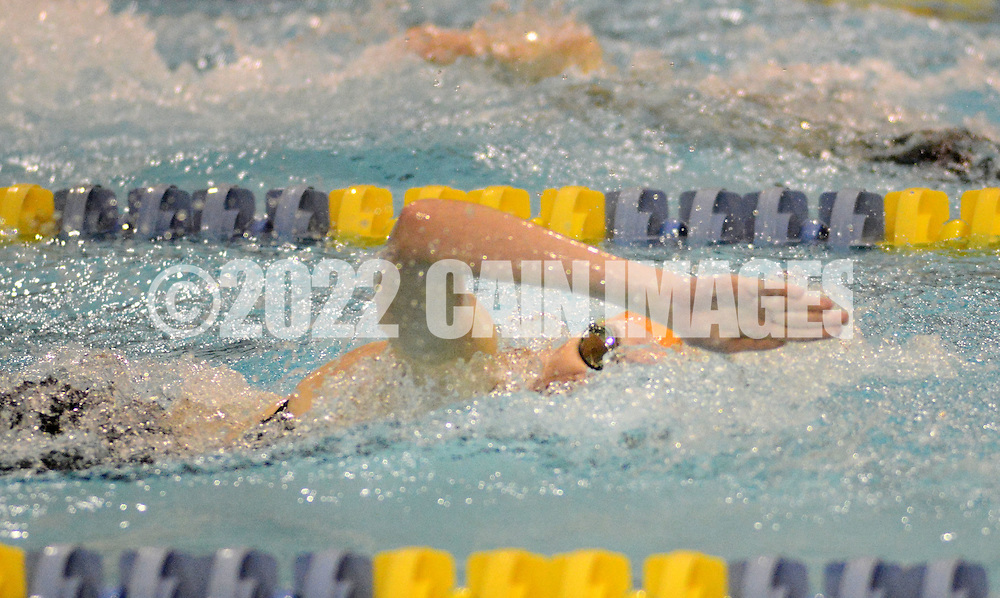 Cherokee's Morgan Sage competes in the 50 meter freestyle event, which she won with a time of :54.25 during a state semifinal swim meet against Bridgewater High School at the College of New Jersey Wednesday, February 18, 2015 in Ewing, New Jersey. (Photo by William Thomas Cain/Cain Images)