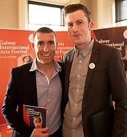 REPRO FREE:  Darrach Mac Con Iomaire and Féilim o hAolain from Baoite in Hotel Meyrick for the announcement of the programme for the 2018 Galway International Arts Festival Programme 16-29 July which features an exciting Irish and international programme of theatre, opera, dance, circus, music, spectacle, visual art, and First Thought Talks featuring interviews and discussions on the theme of home, six world premieres, five Irish premieres and artists and theatre makers from across the world. Highlights include world premieres of Paul Muldoon's Incantata, new plays by Sonya Kelly and Cristin Kehoe (Druid) and a new theatre installation from Enda Walsh, visual arts / installations commissions from David Mach Rock 'n' Roll and Olivier Grossetête The People Build. Photo:Andrew Downes, xposure.