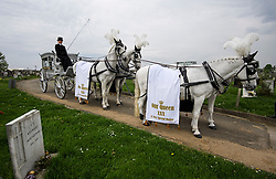 © Licensed to London News Pictures. 21/04/2018. London, UK. A horse drawn carriage at the burial of traveller 'Queenie, Elizabeth Doherty at Kensal Green Cemetery in west London, following a funeral service in Cobham, Surrey. Elizabeth Doherty, whose son Paddy Doherty is known for appearing on My Big Fat Gypsy Wedding and winning Celebrity Big Brother 8, died of a heart attack earlier this month. Paddy Doherty claimed his mother has died of a 'broken heart' following the death of her husband almost a year ago. Photo credit: Ben Cawthra/LNP