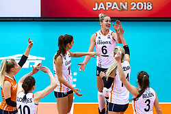 16-10-2018 JPN: World Championship Volleyball Women day 17, Nagoya<br /> Netherlands - China 1-3 / Anne Buijs #11 of Netherlands, Maret Balkestein-Grothues #6 of Netherlands, Laura Dijkema #14 of Netherlands