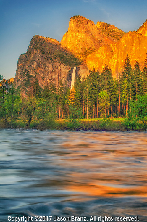 Evening light on Bridalveil Falls, Yosemite National Park, California.