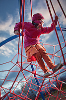 Seven year old S'vana Wagner tests out the brand new equipment near Westchester Lagoon, Anchorage