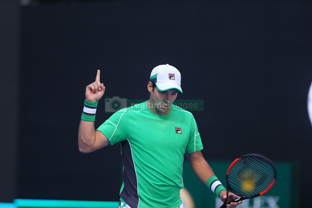 BEIJING, Oct. 3, 2018  Dusan Lajovic of Serbia gestures during the men's singles second round match against Grigor Dimitrov of Bulgaria at China Open tennis tournament in Beijing, China, Oct. 3, 2018. Dusan Lajovic won 2-1. (Credit Image: © Song Yanhua/Xinhua via ZUMA Wire)