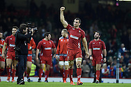 Wales captain Sam Warburton celebrates  his teams win at end of match. Dove Men series 2014, autumn international rugby match, Wales v South Africa at the Millennium stadium in Cardiff, South Wales on Saturday 29th November 2014<br /> pic by Andrew Orchard, Andrew Orchard sports photography.